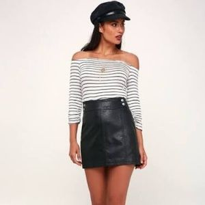 Free people black faux leather mini skirt!